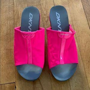 DKNY Hot Pink Slides